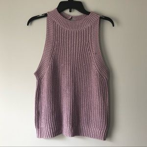 Lavender Crew Neck Sweater Tank Top